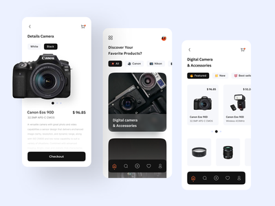 Mobile App - Camera Shop mobile app app iphone photo application shop store product page feed ux design ui design gadget shopping app mobile product design ecommerce app ecommerce shop camera nikon canon