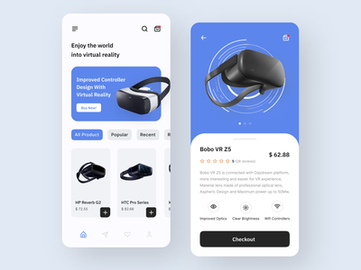 Mobile App - Virtual Reality product design mobile app trendy design material recognition camera app concept augmented reality ecommerce ios minimalist shop store ux design ui design headset features technology shopify virtual reality