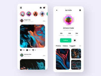 Mobile App - Social Media clean design features product design feed interface design ios app minimal trendy design social app app design profile social social network social media trending ui ux design ui design mobile app app post