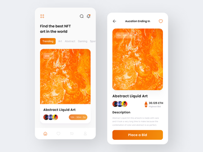 Mobile App - NFT Auction clean ui art app cryptocurrency artwork bitcoin crypto blockhain ios application minimal interface trade nft auction ux design ui design auction app nft app mobile app app