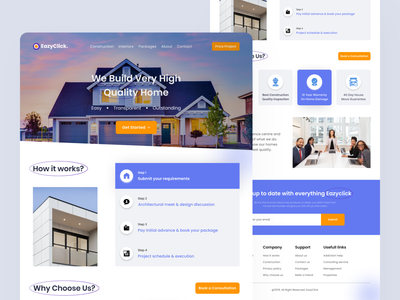 Landing Page - Real Estate service clean design rent house rent landing page ux design ui design minimal minimalist product design product real estate home website properties apartment property homepage web design house
