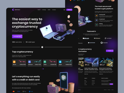 Landing Page - Cryptocurrency Trading exchange token investment wallet binance coin mining crypto platform blockhain dark design web design ux design ui design website design crypto landing page cryptocurrency bitcoin ethereum homepage