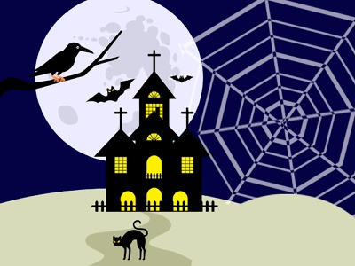 Happy Halloween homepage scene dribble shot dribble halloween party halloween graphic design art website animation vector flat illustration illustrator ui ux