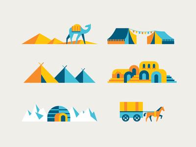GOOD Magazine Spot Illustrations illustrations spot illustration camel horse tent igloo nomads