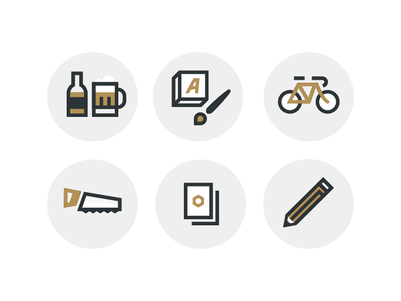Build Icons beer sign painting bicycle saw badges passes pencil icons icon