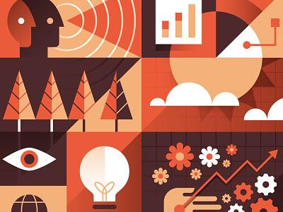 B-Team - Strategy illustration icon icons tree sun lightbulb gears flowers eyeball