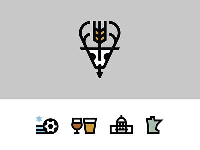 St. Paul Bar Branding beer soccer skull deer logomark icons branding bar minnesota