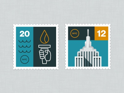 NYC Stamps stamps illustration new york empire state building
