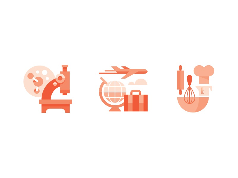 Kern & Burn Book Illustration Preview icon icons travel science cooking microscope globe airplane baking