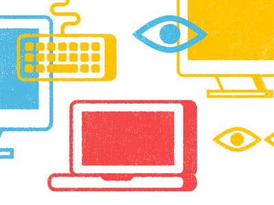 The Manual Announcement Illustration laptop keyboard eyeball the manual
