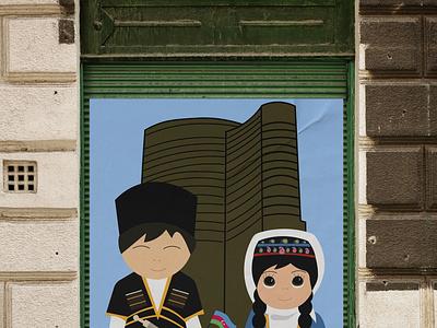 azerbaijan design illustration branding vector traditional baku azerbaijan