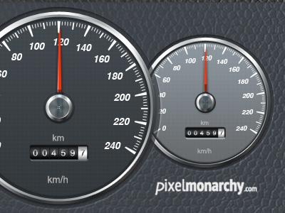 Car Speedometer PSD freebie psd clean light grey dark car speedometer auto speed pixelmonarchy