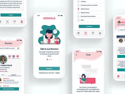 Meditalk healthcare app uiuxdesign illustration vector healthcare ux ui uiux uidesign uxdesign design