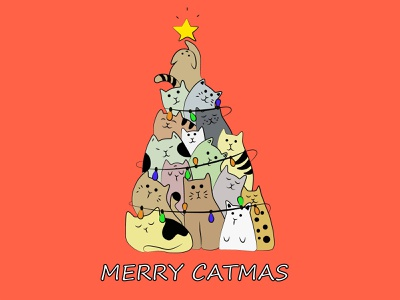 merry catmas typography vector logo branding brand motion design illustration minimal design adobe