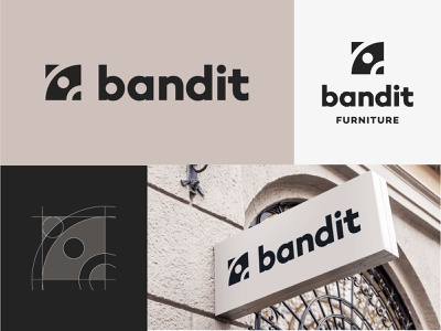 Bandit minimal concept idenity furniture icons logo mark negative space bandit raccoon minimal typography iconography logo branding vector icon design