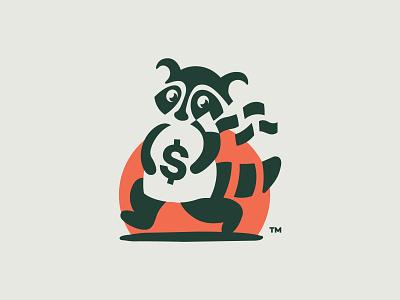 Thieving raccoon negative space logo negativespace dollar theft thief bandit money bag money bag cash raccon logo design logo branding icon vector design illustration