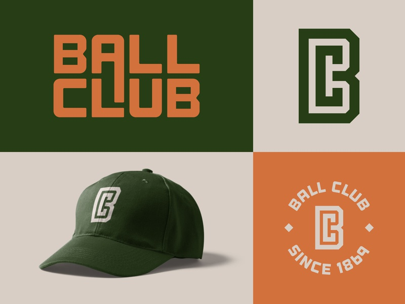 BC logo hat sports ball club sports logo bc monogram typography logo branding icon vector design
