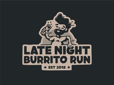 LNBR sticker run night moon running man burrito typography logo branding design icon vector illustration