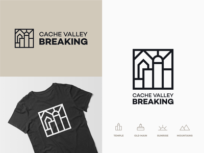 CV Breaking logo minimal lineart square logo sunrise temple mountain identity typography iconography logo branding icon vector design illustration