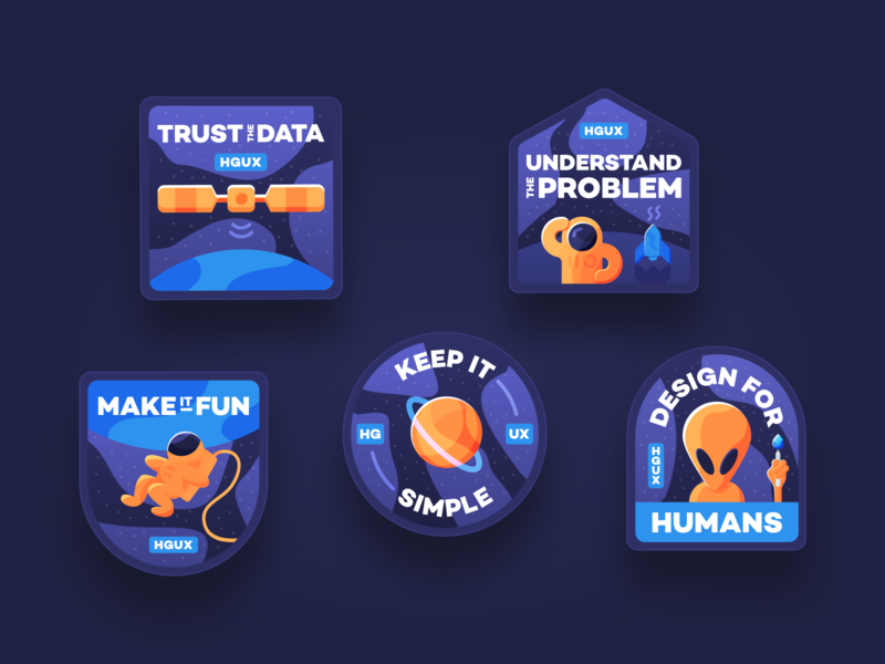 HostGator Design Principles - badges outer space satellite rocketship planet design icon illustration vector astronaut spaceship space alien principle badge
