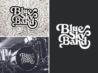 Blue sky band logo sky print sticker music rock n roll oldies logo design type design vector typography blue sky band logo branding logo