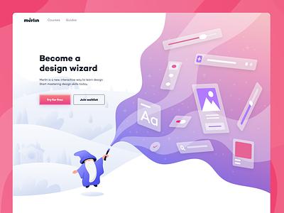 Merlin home + illustration home page spell education learning wizard website design ux ui web branding design illustration