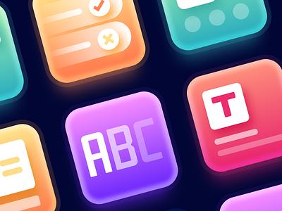 Course icons macro glow colorful gradient iconography ux branding typography ui web logo icon vector design illustration