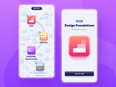 Learning path - mobile animals forest app design ui design learning education merlin mobile ios app product design product uiux ux ui design illustration purple
