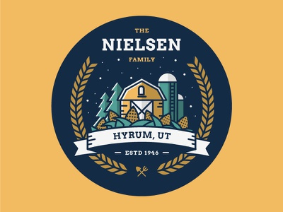 Nielsen Family Crest sticker trees iconography tools logo badge crest patch corn silo barn illustration