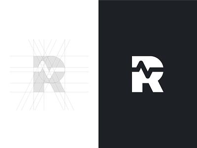 R + EKG (squiggly line) vector sketch r mark logo illustration identity icon grid ekg design branding