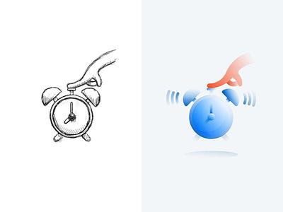 Snooze hand sketch gradient alarm clock snooze branding vector icon design illustration