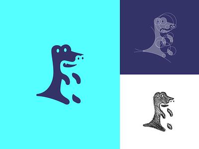 Standing gator logo concept 01 branding vector icon illustration alligator gator negative space logo negative space logo