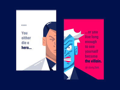 Two-Face business card illustration weekly warm-up dribbbleweeklywarmup hero businesscard villain typogaphy flat two-face vector design