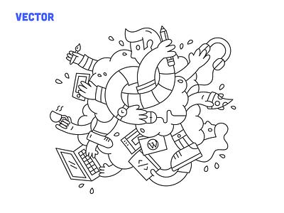 Blitz illustration – process headphones cartoon cloud scramble frantic blitz pizza coffee football branding icon design vector illustration