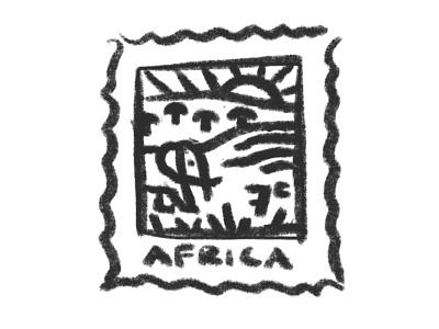 Africa Stamp dribbbleweeklywarmup stamp safari elephant africa lineart vector icon design illustration