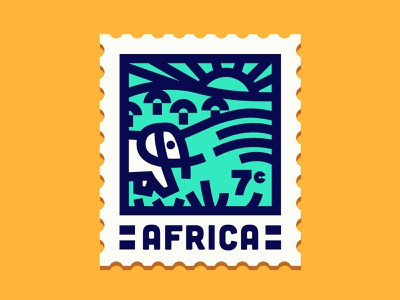 Africa Stamp dribbbleweeklywarmup stamp safari elephant africa lineart vector icon design illustration