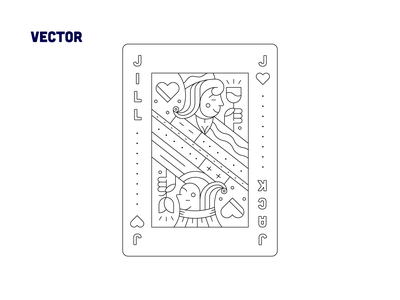 Jack 💙& Jill 💜- Playing card flower wine heart playing card jack dribbbleweeklywarmup sketch typography icon iconography vector design illustration