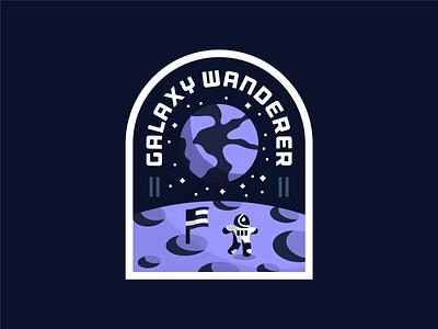 Galaxy Wanderer planet moon earth flag astronaut space typography sketch iconography flat dribbbleweeklywarmup badge logo vector icon design illustration