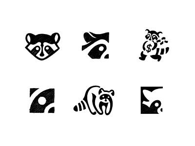Raccoon logo - concept sketches logodesign logo raccoon sketch icon design illustration brand identity branding