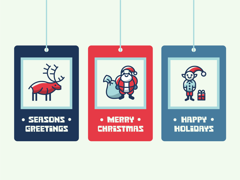 Holiday gift tags holidays holiday tag hangtag christmas gift elf reindeer santa vector illustration design icon iconography