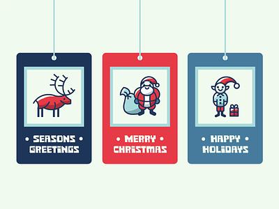 Holiday gift tags holidays holiday tag hangtag christmas gift elf reindeer santa vector illustration design icon iconography