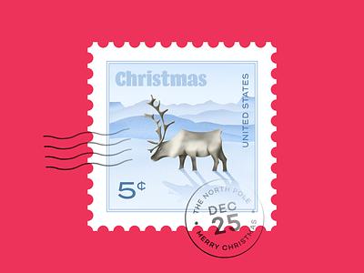 Reindeer stamp north pole christmas card letter christmas postage stamp postage stamp reindeer icon design illustration