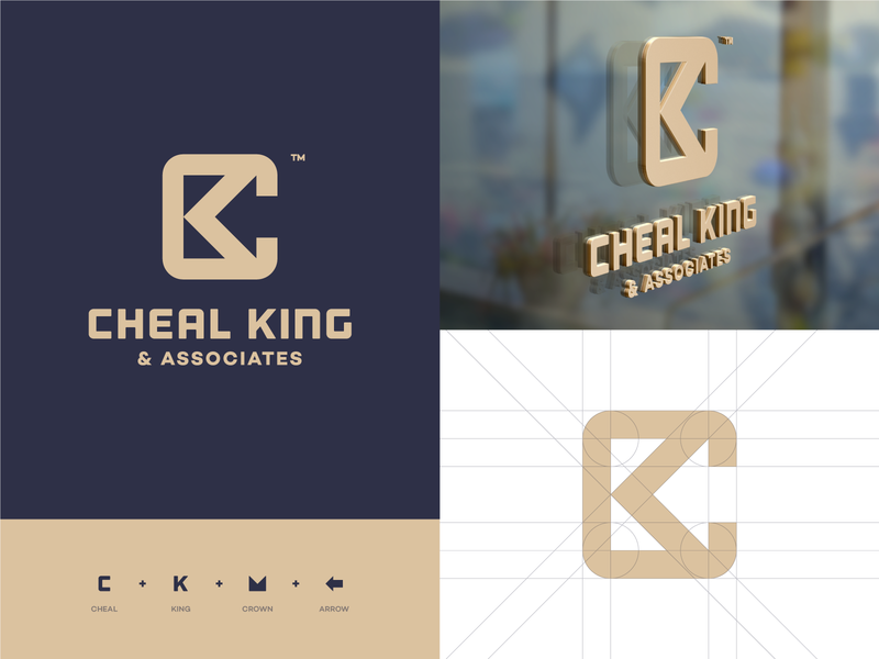 Cheal King logo redesign monogram king k logo c logo ck typography logo design logo design brand identity crown branding vector icon