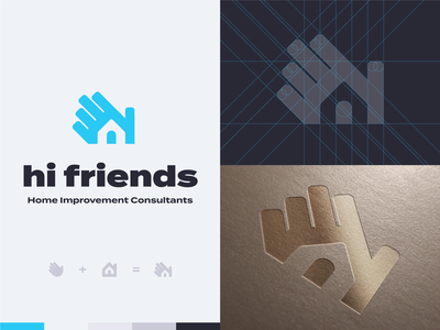 'Hi Friends' logo (👋 + 🏠)