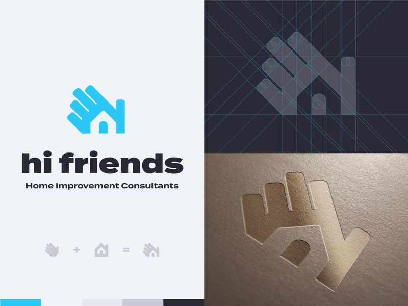 'Hi Friends' logo (👋 + 🏠) home improvement hand chimney logo design house brand identity typography design vector icon branding hi wave logo