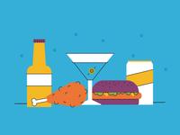 Late Night Snacks fun texture simple burger martini beer chicken snacks food vector illustration