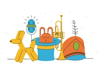 Fun Stuff band trumpet magic mic balloon animal simple fun illustration vector