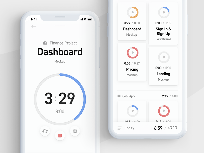 Timetracking Concept B timer ui mobile iphone
