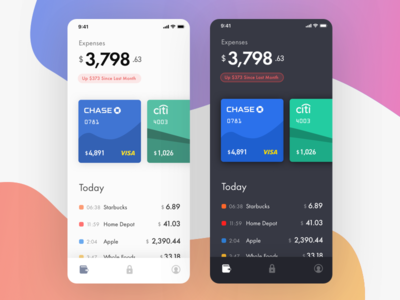 Banking App – Light and Dark color schemes