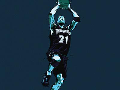 Kevin Garnett. NBA Illustration 2020 poster nba drawing vector illustration photoshop illustrator artwork flat design